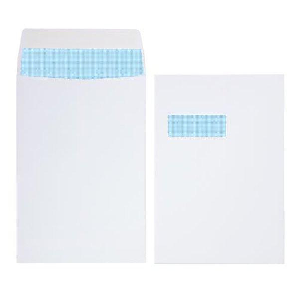Initiative Envelope Gusset Pocketed Window Sef Seall C4 140gsm White Pack 125