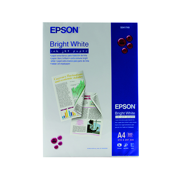 Epson A4 Inkjet Paper 90gsm Bright White Ream S041749 C13S041749 (500 Pack)
