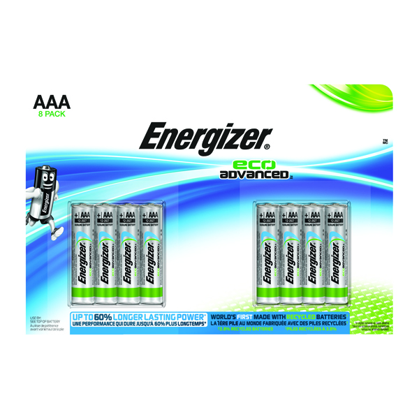 Energizer EcoAdvanced E92 AAA Alkaline Batteries (8 Pack) E300116300