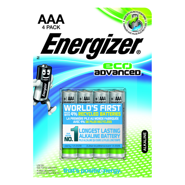 Energizer EcoAdvanced E92 AAA Alkaline Batteries (4 Pack) E300128100