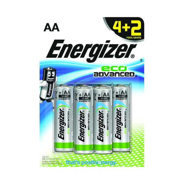Energizer EcoAdvanced E91 AA Alkaline Batteries (4 + 2 Free Pack) E300135600
