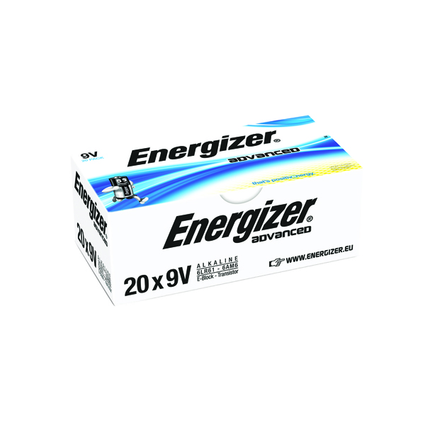 Energizer Advanced Batteries 522 9V (20 Pack) E300488300