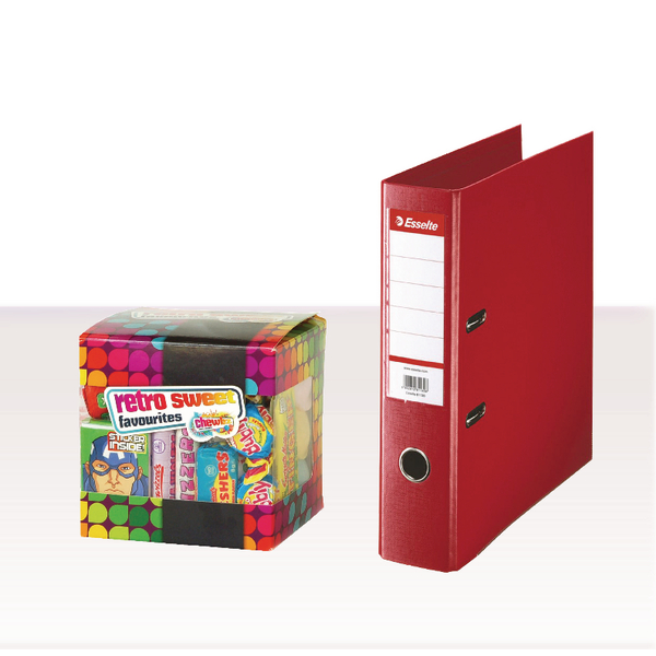 Esselte A4 PVC Lever Arch File 75mm Red with FOC Sweets ES810768