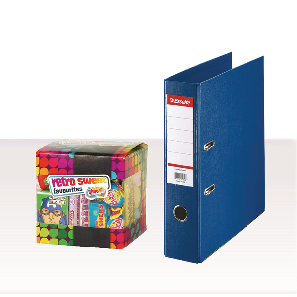 Esselte A4 PVC Lever Arch File 75mm Blue with FOC Sweets ES810769