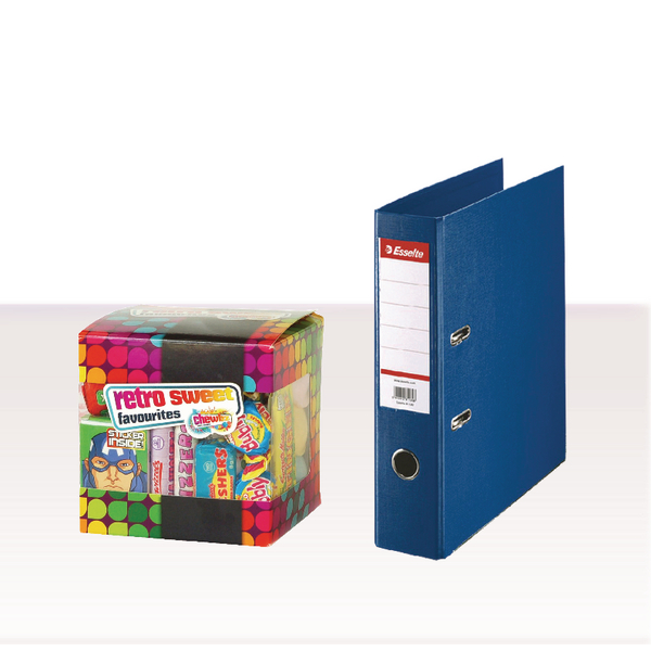 Esselte Lever Arch File Foolscap 75mm Polypropylene Blue with FOC Sweets ES810773