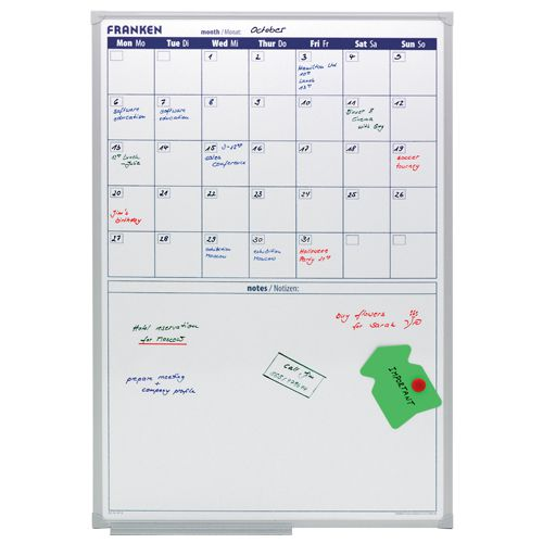 Franken Monthly Drywipe Planner 600x900mm Aluminium Frame (Pack of 1) VO-18