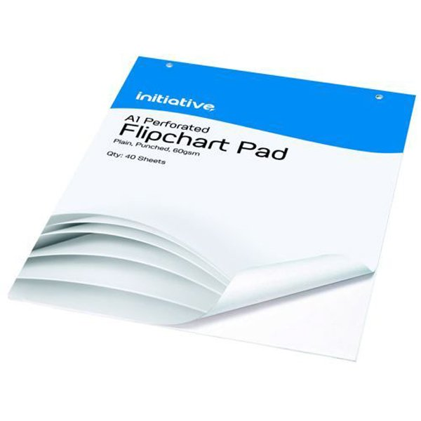 Initiative Punched Perforated Flipchart Pad A1 60gsm White Bleedproof Paper 40 Sheets