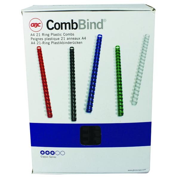 GBC Black CombBind 22mm Binding Combs (100 Pack) 4028602U