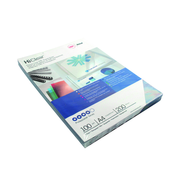 GBC HiClear PVC 200 Micron A4 Super Clear Binding Covers (100 Pack) CE012080U