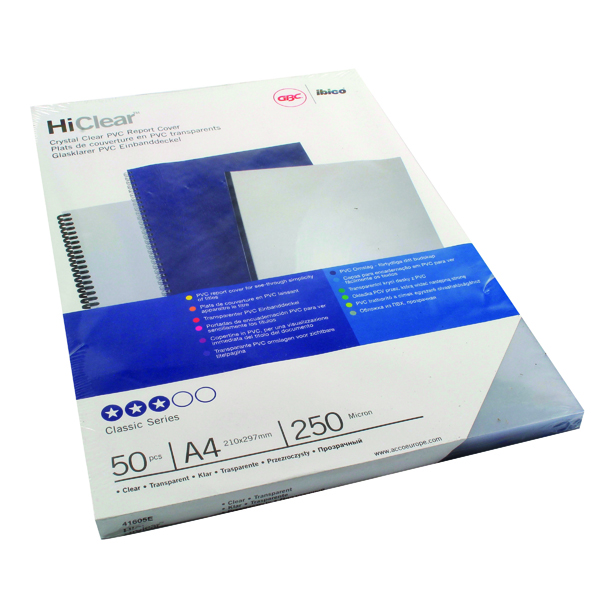 GBC HiClear PVC 250 Micron A4 Clear Binding Covers (50 Pack) 41605U