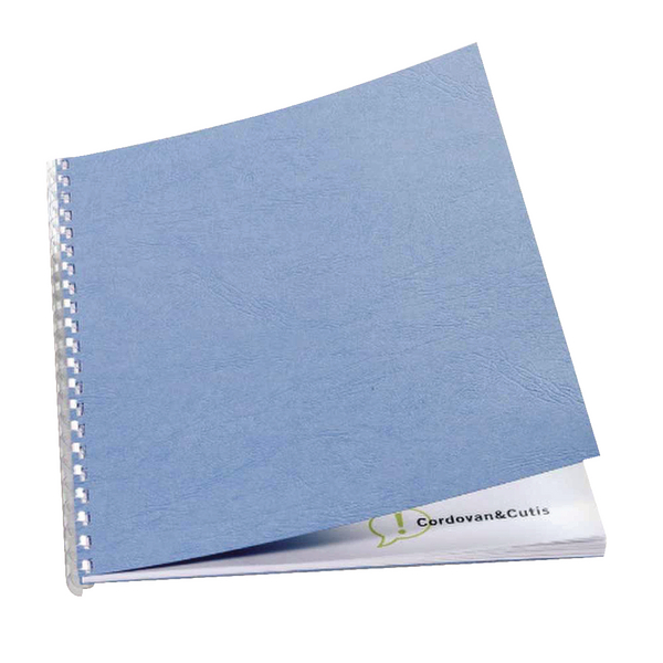 GBC LeatherGrain 250gsm A4 Wedgewood Blue Binding Covers (100 Pack) CE040021U