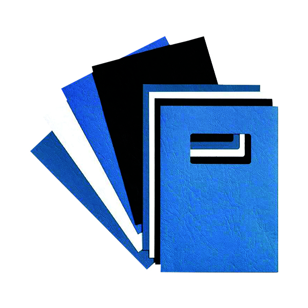 GBC LeatherGrain 250gsm A4 With Title Window Blue Binding Covers (50 Pack) 46735U
