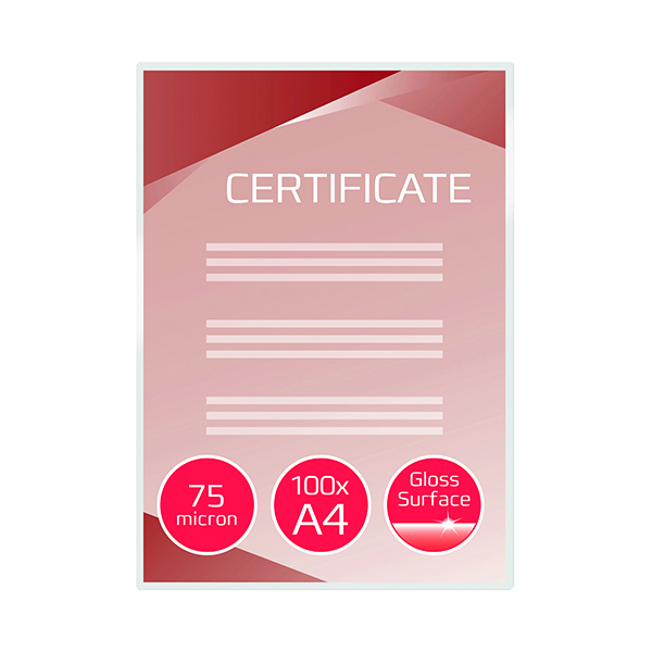 GBC Document Laminating Pouches A4 2x75 Micron Gloss (100 Pack) 3740400