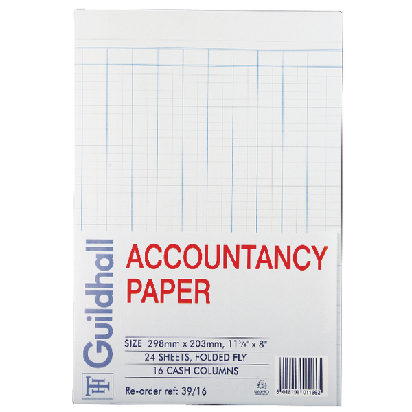 Guildhall Accountancy Paper 16 Cash Columns (240 Pack) 39/16