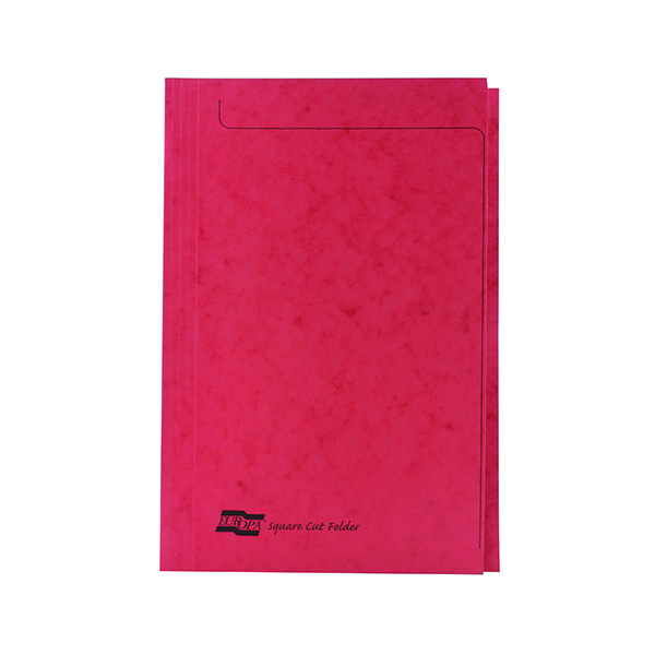 Europa Foolscap Red Square Cut Folder (50 Pack) 4828