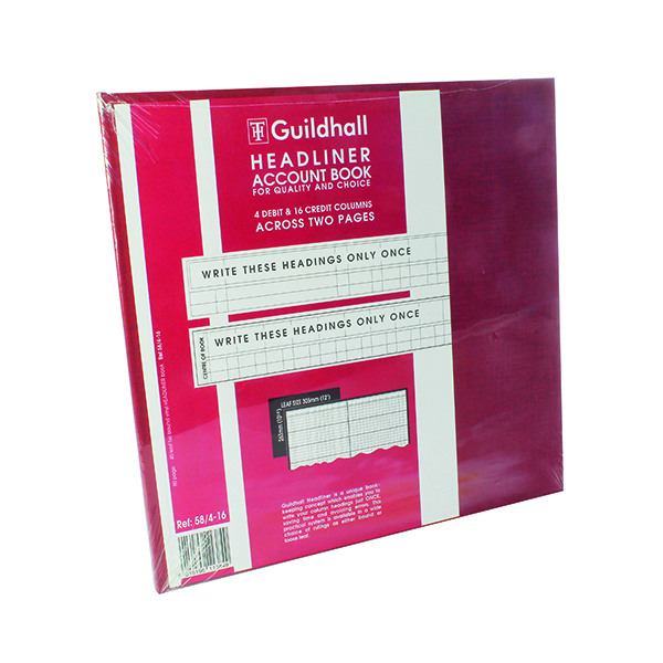 Guildhal Burgundy Headliner 20 Column Account Book 58/4-16 1384