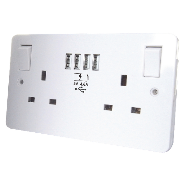 Connekt Gear USB Charging Wall Sockets 4 USB 4.8Amp combined 27-3048