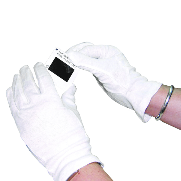 White Large Knitted Cotton Gloves (10 Pack) GI/NCME