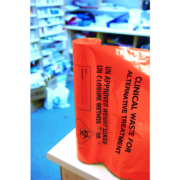 Orange Clinical Waste Heavy Duty Sack for Alternative Treatment AT25/M085