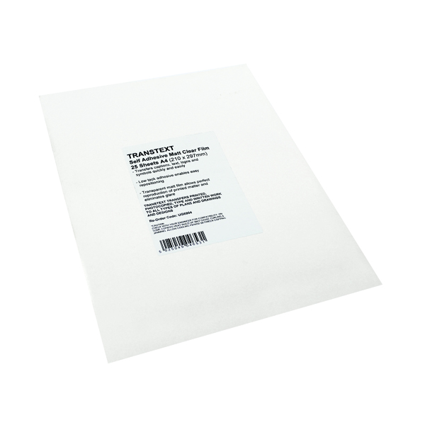 Transtext Self-Adhesive Clear Film A4 210mmx297mm (25 Pack) UG6904