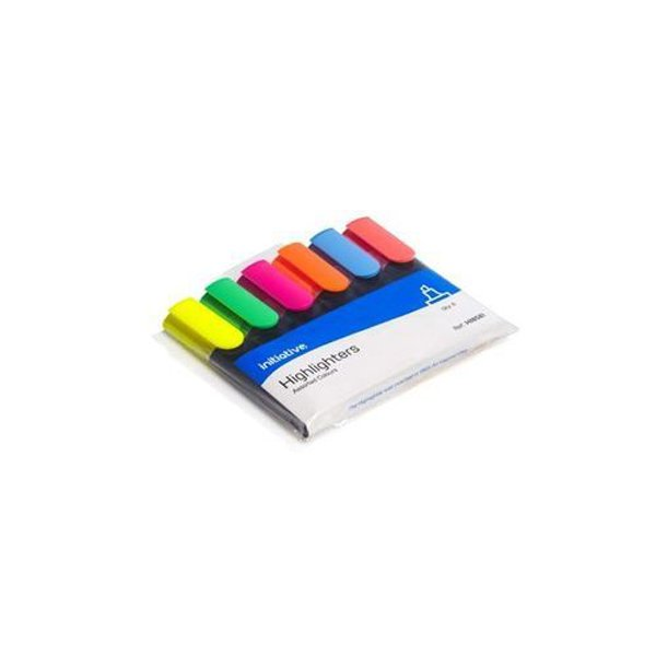 Initiative Water Based Highlighters Wedge Shaped Tip Assorted Wallet 6
