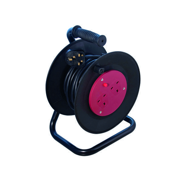 Heavy Duty 2-Way 13 Amp Extension Reel 25m Black WCR252/CHT2513