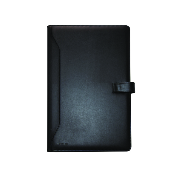 Monolith Black Leather-Look PU Conference Folder With A4 Pad 2900