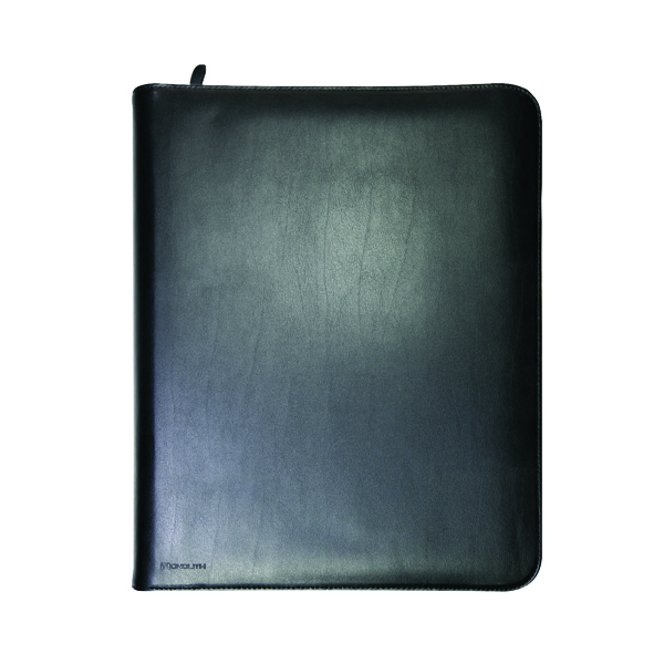Monolith Zipped Leather A4 Black Conference Folder 2924