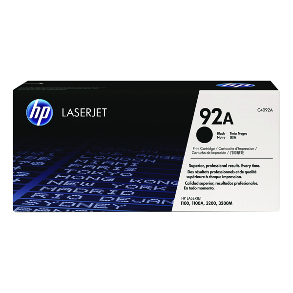 HP 92A Black LaserJet Toner Cartridge C4092A