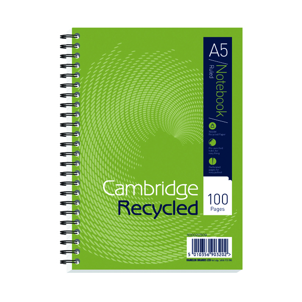 Cambridge Recycled A5 Wirebound 2 Hole Notebook (5 Pack) 400020509