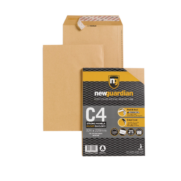 New Guardian C4 Envelope 130gsm Peel and Seal Heavy Duty Manilla (25 Pack)16-BUK-006