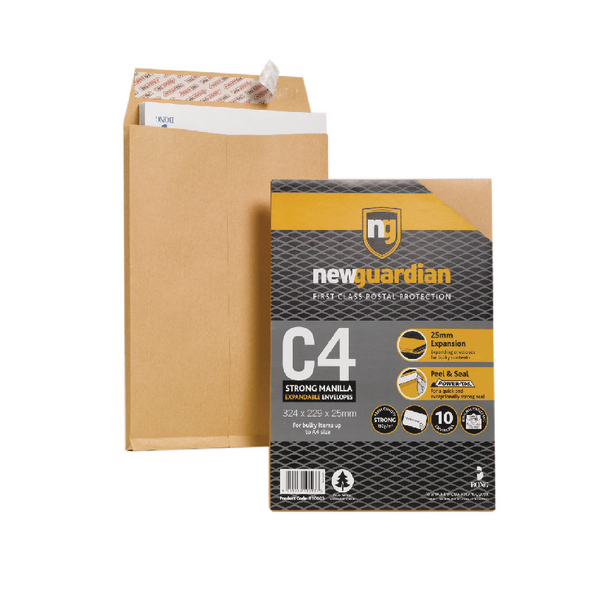 New Guardian Envelope C4 130gsm Gusset Peel and Seal Plain Manilla (10 Pack) 16-BUK-007