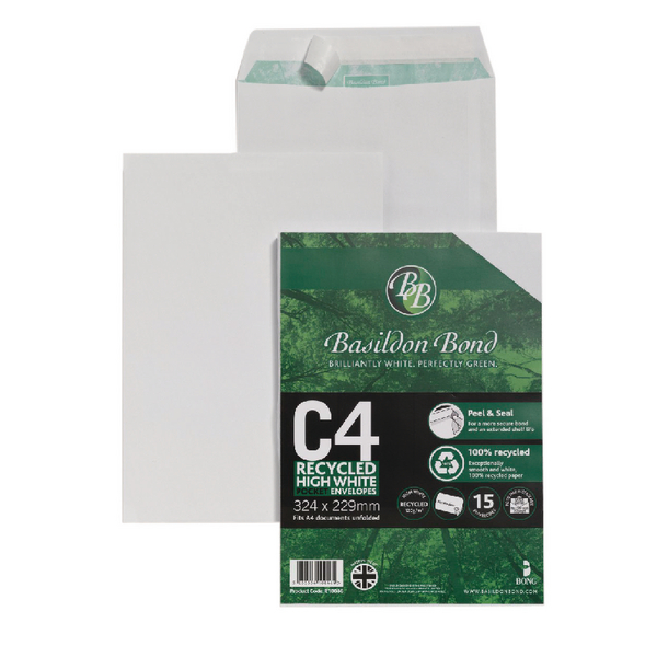 Basildon Bond Envelope C4 100gsm Peel and Seal Recycled Plain White (15 Pack) 16-BUK-004