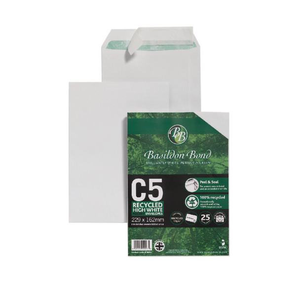 Basildon Bond Envelope C5 120gsm Peel and Seal Recycled Plain White (25 Pack) 16-BUK-003