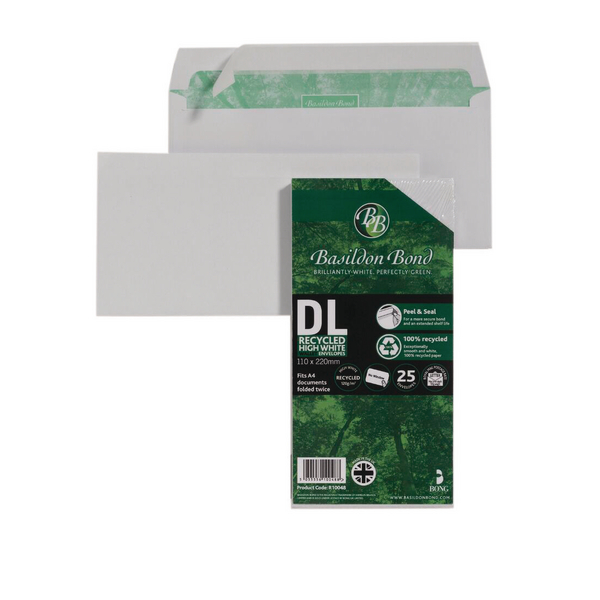 Basildon Bond DL 120gsm Peel and Seal Recycled Plain Envelope White (25 Pack) 16-BUK-001