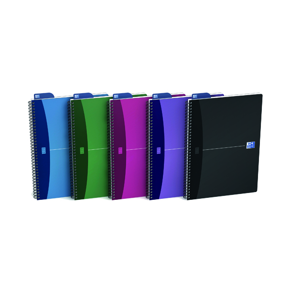 Oxford Office A4 Assorted Metallic Wirebound Notebook (5 Pack) 100101918