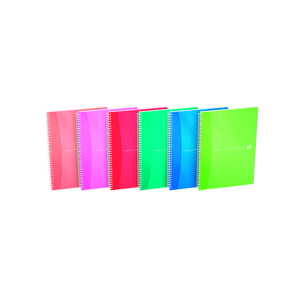 Oxford Office A4 Translucent Assorted Soft Cover Wirebound Notebook (5 Pack) 100104241