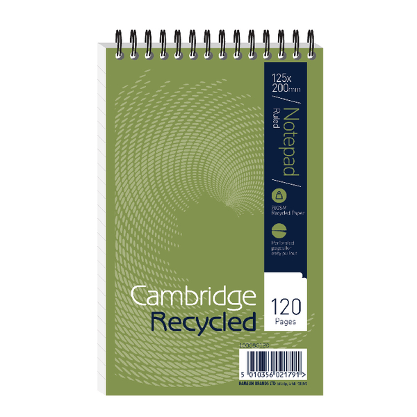 Cambridge Recycled Reporter's Notebook Ruled 120 Pages (10 Pack) 100080120