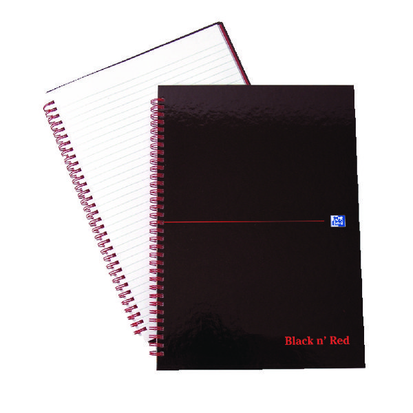 Black n Red Wirebound Hardback Notebook A4 (5 Pack x 2) JD831010
