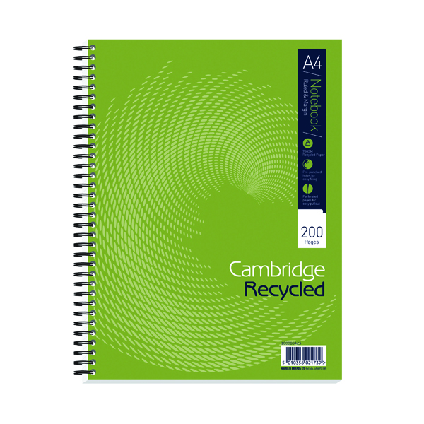 Cambridge Recycled A4 Plus Wirebound Notebook 200 Pages (3 Pack) 100080423