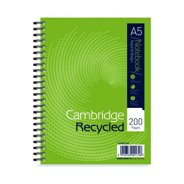 Cambridge Recycled A5 Plus Wirebound Notebook 200 Pages (3 Pack) 100080106