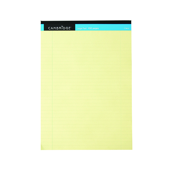 Cambridge Everyday A4 Yellow Legal Pad 100 Pages Ruled Margin (10 Pack) 100080179