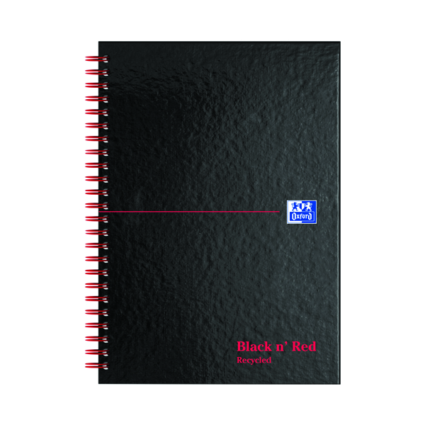 Black n' Red A5 Wirebound Hardback Recycled Notebook Ruled Perforated (5 Pack) 846350962
