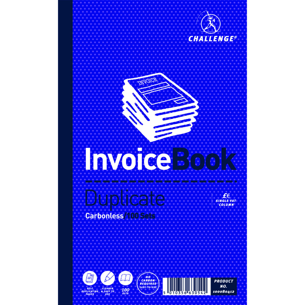 Challenge Duplicate Invoice Single VAT Column Book Carbonless 100 Sets 210 x 130mm (5 Pack) 100080412
