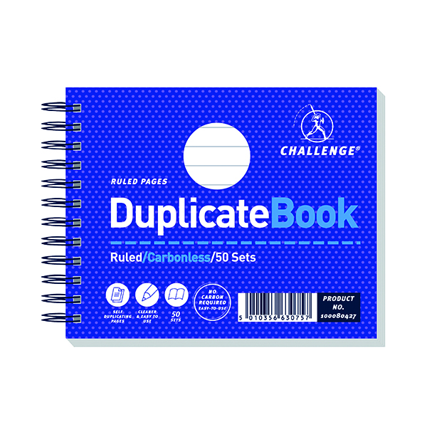 Challenge Wirebound Duplicate Book Ruled Carbonless 50 Sets 105 x 130mm (5 Pack) 100080427