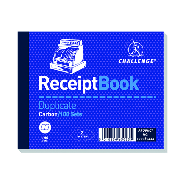 Challenge Duplicate Receipt Book Carbonless 100 Sets 105 x 130mm (5 Pack) 100080444