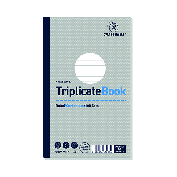Challenge Triplicate Book Ruled Carbonless 100 Sets 210 x 130mm (5 Pack) 100080445