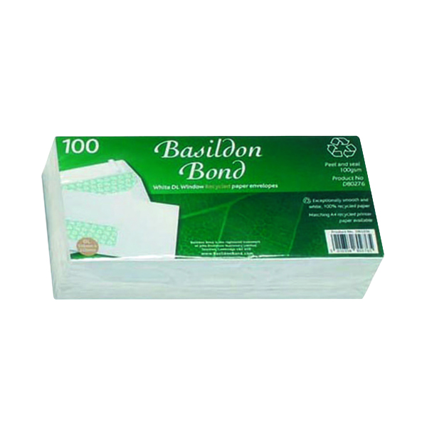Basildon Bond DL Envelopes Window Wallet Peel and Seal 120gsm White (100 Pack) D80276