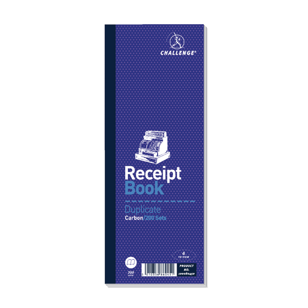 Challenge Duplicate Receipt Book Carbonless 200 Sets 241 x 92mm (10 Pack) 100080450