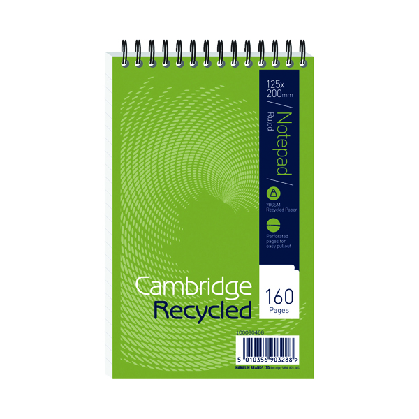 Cambridge Recycled 125 x 200mm Wirebound Notebook (10 Pack) 100080468